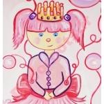toise enfant bébé fille princesse poupée violet parme rose bulles fuschia pastel zoom