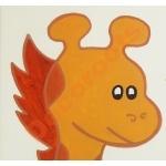 plaque-de-porte-enfant-bebe-girafe-et-singe-peluche-savane-jungle-vert-chocolat-orange beige zoom