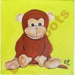 tableau déco enfant bébé jungle singe vert anis et marron chocolat AF