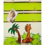 pêle mêle enfant bébé déco jungle girafe vert anis marron chocolat AF