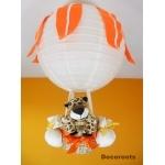 lampe montgolfière jungle léopard jaune orange beige