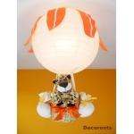 lampe montgolfière jungle léopard jaune orange beige allumée