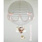 lampe montgolfière gris et rose