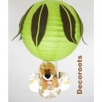 lampe montgolfière jungle lion vert anis marron chocolat