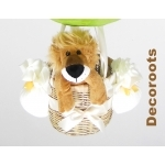 lampe montgolfière jungle lion vert anis marron chocolat zoom