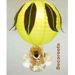 lampe montgolfière jungle lion vert anis marron chocolat allumée