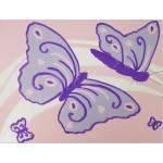 tableau enfant bébé papillon rose mauve violet parme AF ZOOM