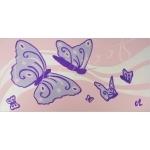 tableau enfant bébé papillon rose mauve violet parme AF