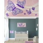 tableau enfant bébé papillon rose mauve violet parme  décoration