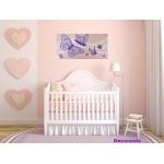 tableau enfant bébé papillon rose mauve violet parme  2