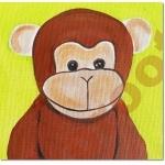 tableau-deco-enfant-bebe-jungle-singe-vert-anis-et-marron-chocolat zoom