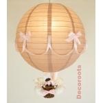lampe montgolfière enfant bébé chat taupe rose allumée