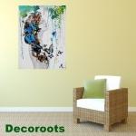 tableau déco design femme tache peinture multicolore papillon nue printemps salon