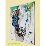 tableau déco design femme tache peinture multicolore papillon nue printemps profil
