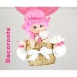 lampe montgolfière enfant bébé fille poupée ours peluche rose et blanc zoom