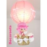 lampe montgolfière enfant bébé fille poupée ours peluche rose et blanc allumée