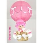 lampe montgolfière enfant bébé fille poupée ours peluche rose et blanc