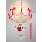 lampe montgolfière enfant bébé gris et rose