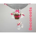 lampe montgolfière enfant bébé ours gris et rose zoom