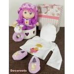 coffret cadeau naissance fille rose et violet hochet