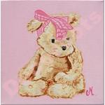 Tableau Léa l'oursonne en peluche rose et beige.