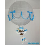 lampe montgolfière bébé gris turquoise