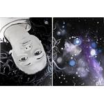 tableau design tête femme à l'envers espace cosmos galaxie étoile 3