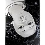 tableau design tête femme à lenvers espace cosmos galaxie étoile 1
