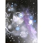 tableau design tête femme à lenvers espace cosmos galaxie étoile