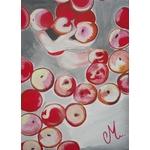 tableau design déco femme gourmandise nue gris rouge bas