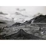 tableau art artiste contemporain montagne noir et blanc
