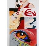 tableau design contemporain art artiste femme rouge noir