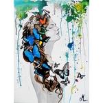 tableau art design femme tache peinture multicolore papillon nue printemps