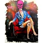 tableau art artiste crane vanité rose fluo