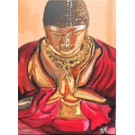 tableau zen bouddha rouge orange marron