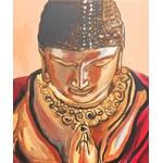 tableau zen bouddha rouge orange marron zoom