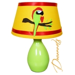 lampe de chevet enfant bébé décoration jungle perroquet vert anis orange rouge