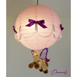 lampe montgolfière suspension enfant bébé luminaire rose violet abat-jour poney cheval licorne aile