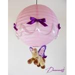 lampe montgolfière enfant suspension abat-jour rose violet parme cheval licorne poney ailé