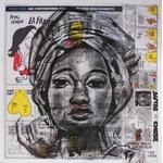 tableau art artiste contemporain africaine ethnique moderne nigéria papier journal fusain noir et blanc portrait