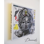 tableau art artiste contemporain africaine ethnique moderne nigéria papier journal fusain noir et blanc portrait 8
