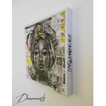 tableau art artiste contemporain africaine ethnique moderne nigéria papier journal fusain noir et blanc portrait 9