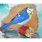tableau art artiste contemporain peinture design nature mésange oiseau