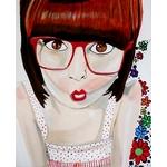 tableau art artiste femme pop manga retro rouge blanc design