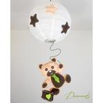 lustre suspension abat-jour enfant bébé ours beige chocolat vert anis