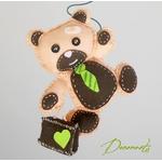 lustre suspension abat-jour enfant bébé ours beige chocolat vert anis décoration
