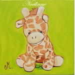 tableau enfant bébé girafe thème jungle personnalisé