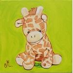 tableau enfant bébé girafe thème jungle