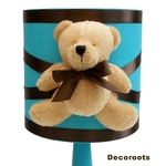 lampe de chevet enfant bébé ours turquoise chocolat décoration