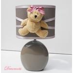 lampe chevet enfant bébé fille ours taupe rose pastel